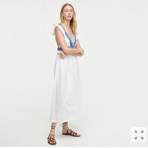 JCrew Ruffle deep V neck beach dress
